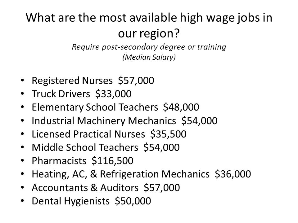 What are the most available high wage jobs in our region? Require post-secondary degree or training (Median Salary) Registered Nurses $57,000 Truck Dr