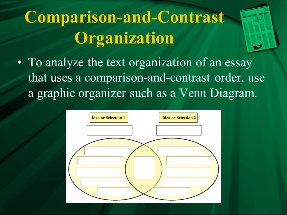 Comparison-and-Contrast Organization To analyze the text organization of an essay that uses a comparison-and-contrast order, use a graphic organizer such as a Venn Diagram.