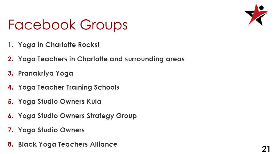 21 Facebook Groups 1.Yoga in Charlotte Rocks.