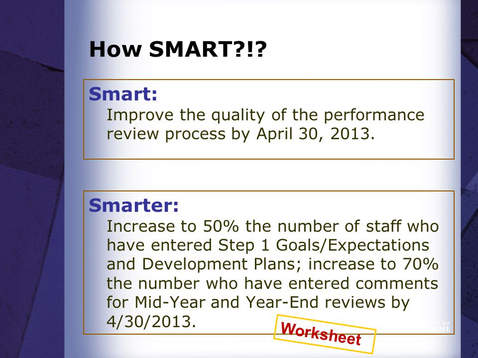 How SMART?!. Smart: Improve the quality of the performance review process by April 30, 2013.