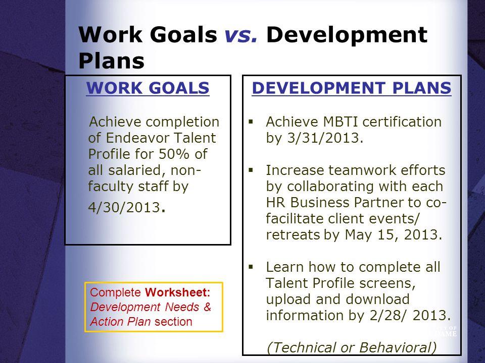 Work Goals vs.