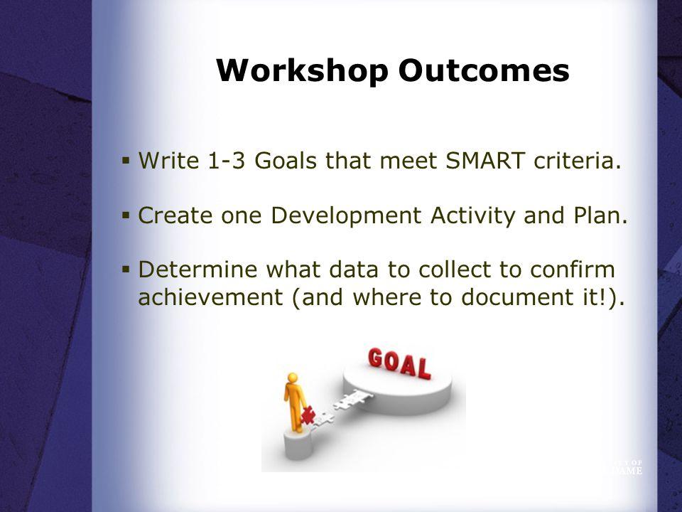 Workshop Outcomes  Write 1-3 Goals that meet SMART criteria.