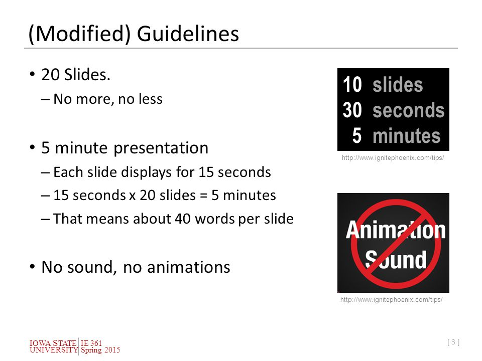 I OWA S TATEIE 361 UNIVERSITYSpring 2015 [ 3 ] (Modified) Guidelines 20 Slides.