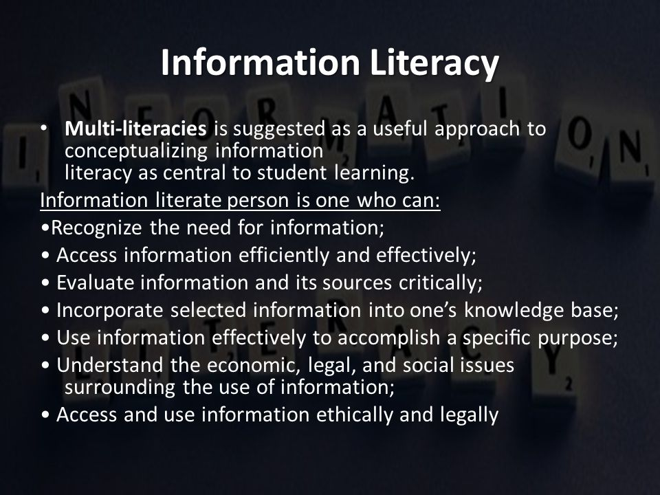 Information literacy for schools features in the general curriculum, where one of the generic outcomes indicates that the learner is expected to be able to collect, analyze, organize and critically evaluate information (Zinn, 2000).