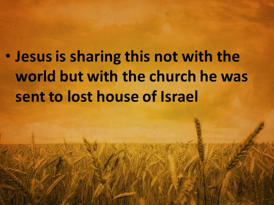 Jesus is sharing this not with the world but with the church he was sent to lost house of Israel