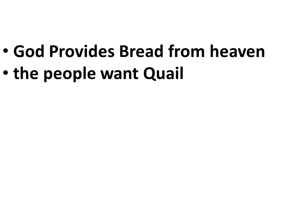God Provides Bread from heaven the people want Quail