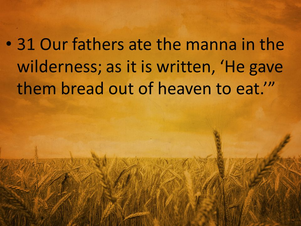 31 Our fathers ate the manna in the wilderness; as it is written, 'He gave them bread out of heaven to eat.'