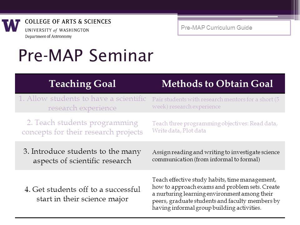 Pre-MAP Seminar Teaching GoalMethods to Obtain Goal 1.