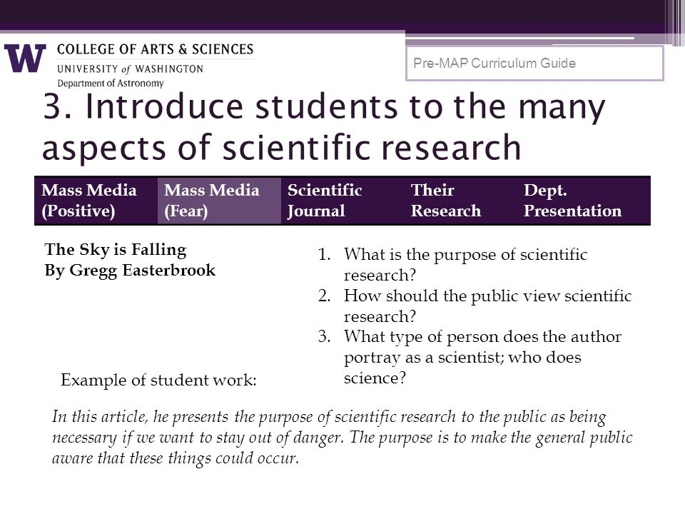 3. Introduce students to the many aspects of scientific research Pre-MAP Curriculum Guide Mass Media (Positive) Mass Media (Fear) Scientific Journal T