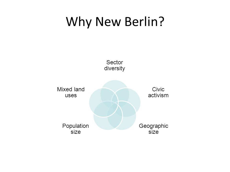 Why New Berlin? Sector diversity Civic activism Geographic size Population size Mixed land uses