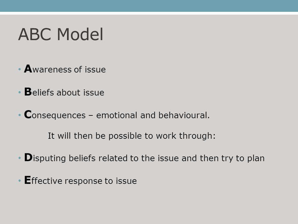 ABC Model A wareness of issue B eliefs about issue C onsequences – emotional and behavioural.