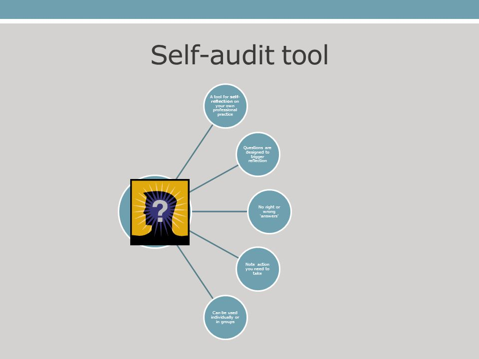 Self-audit tool A tool for self- reflection on your own professional practice Questions are designed to trigger reflection No right or wrong 'answers'