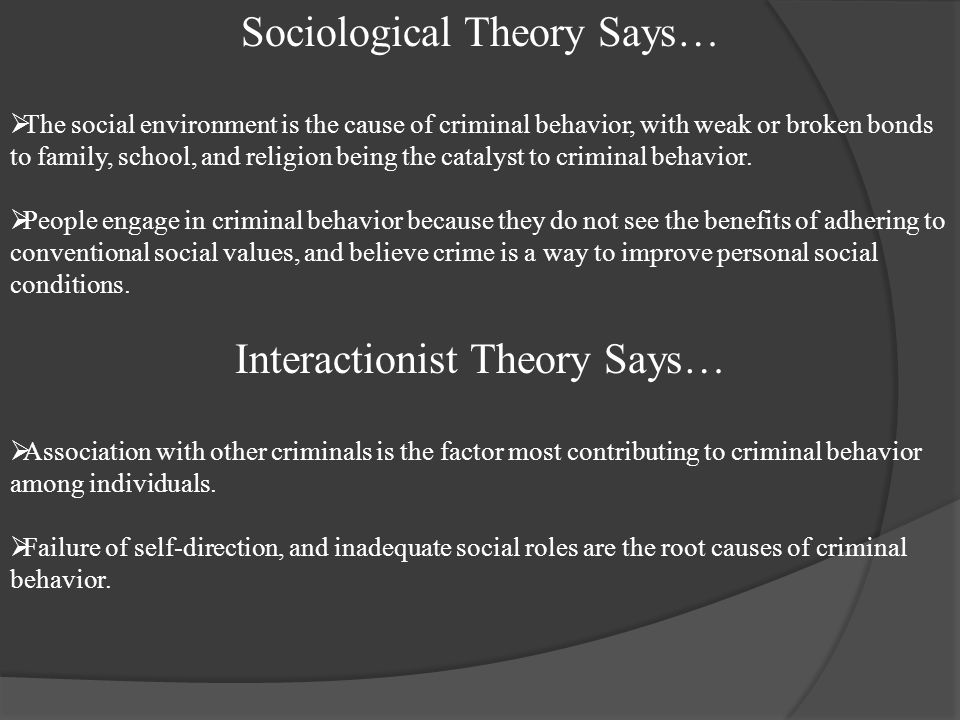 Sociological Theory Says…  The social environment is the cause of criminal behavior, with weak or broken bonds to family, school, and religion being the catalyst to criminal behavior.