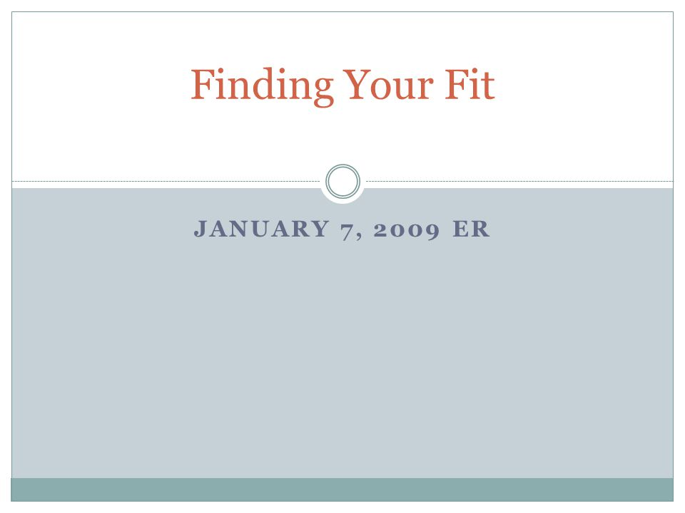 JANUARY 7, 2009 ER Finding Your Fit