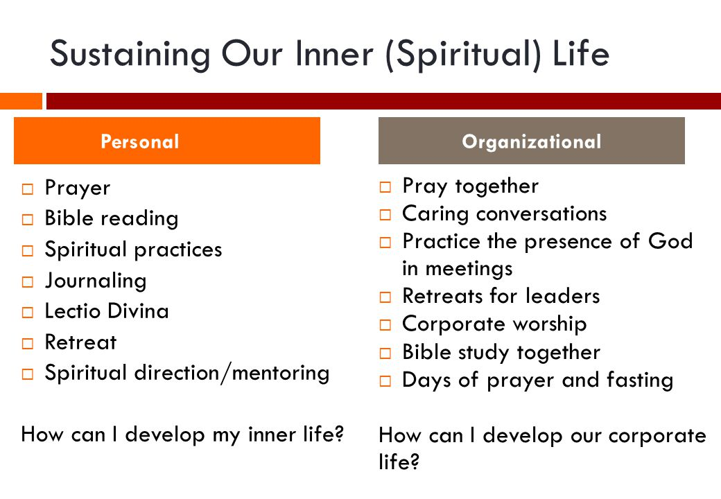 Sustaining Our Inner (Spiritual) Life  Prayer  Bible reading  Spiritual practices  Journaling  Lectio Divina  Retreat  Spiritual direction/mentoring How can I develop my inner life.