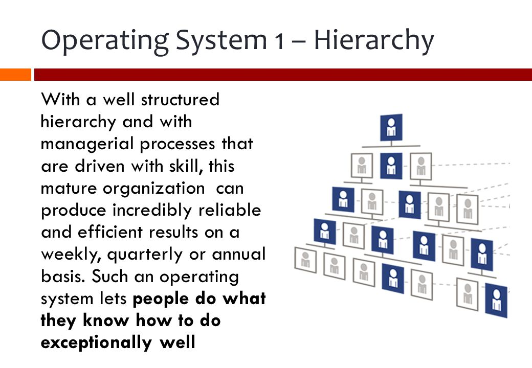 Operating System 1 – Hierarchy With a well structured hierarchy and with managerial processes that are driven with skill, this mature organization can produce incredibly reliable and efficient results on a weekly, quarterly or annual basis.
