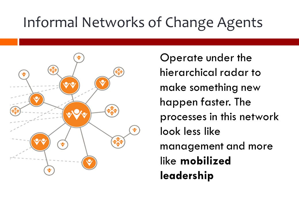 Operate under the hierarchical radar to make something new happen faster.