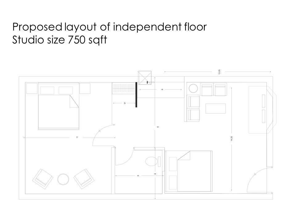 Proposed layout of independent floor Studio size 750 sqft