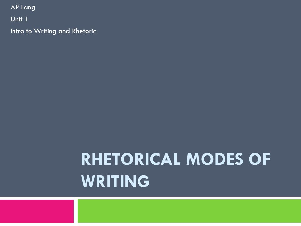 RHETORICAL MODES OF WRITING AP Lang Unit 1 Intro to Writing and Rhetoric