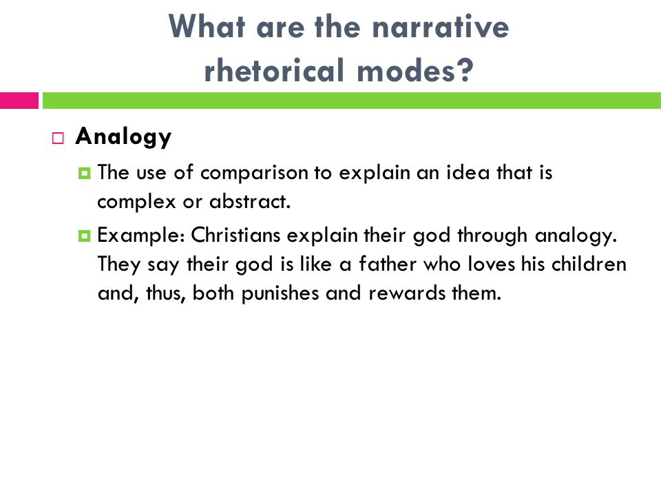 What are the narrative rhetorical modes.