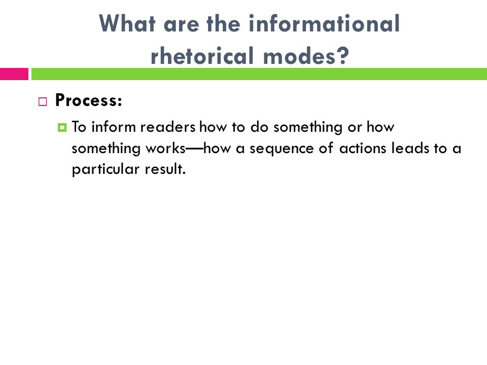 What are the informational rhetorical modes.