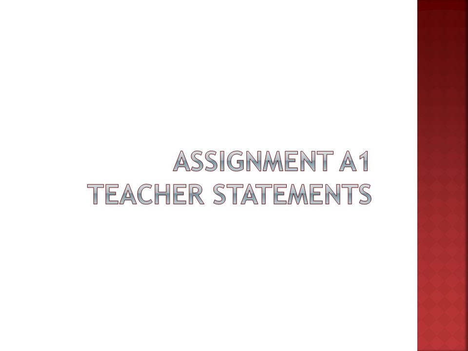  Assignment  A1 Instructions (PDF) & A1 Form (Word) A1 Instructions (PDF)A1 Form (Word)  Record 50 statements by adult during free play  Classify statements into Word table by these codes: D – Direction: Requires or commands an action T – Tutorial: Question adult knows the answer to Q – Query: Question adult does not know answer to I – Information: Facts/observations to describe, advise S – Social: Social statements .