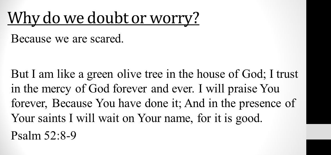 Why do we doubt or worry? Because we are scared. But I am like a green olive tree in the house of God; I trust in the mercy of God forever and ever. I