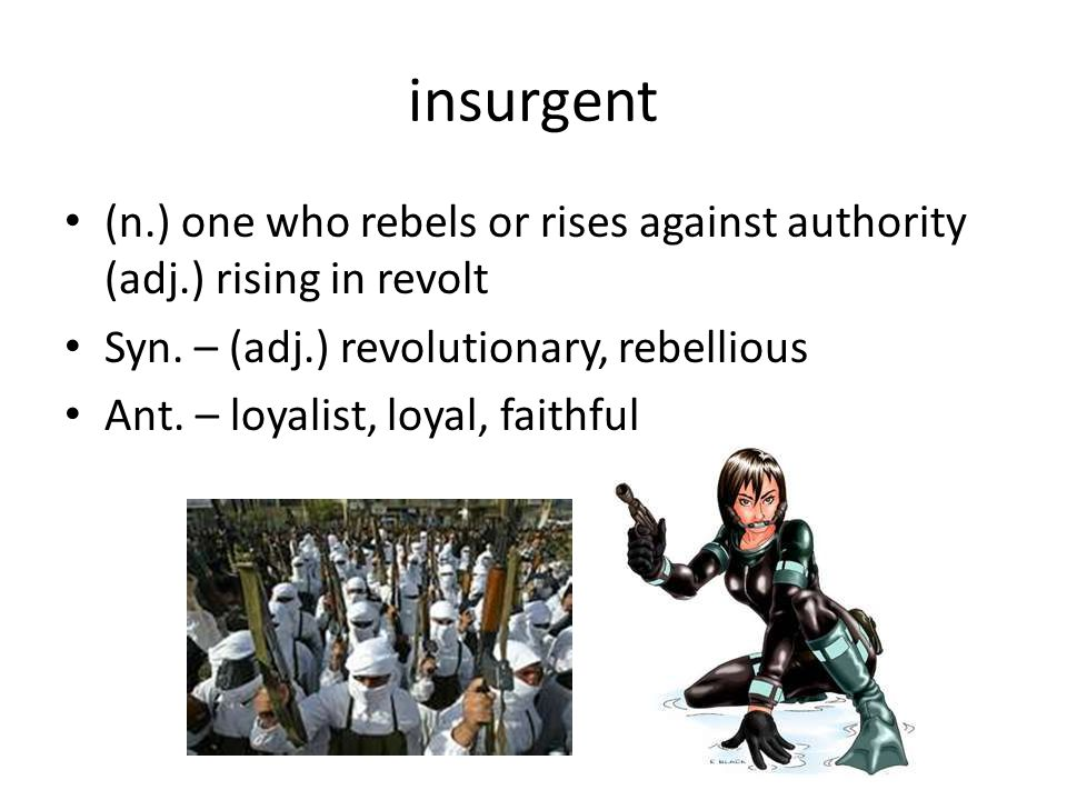 insurgent (n.) one who rebels or rises against authority (adj.) rising in revolt Syn.