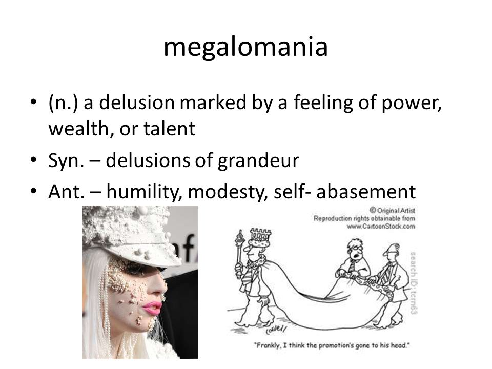 megalomania (n.) a delusion marked by a feeling of power, wealth, or talent Syn.