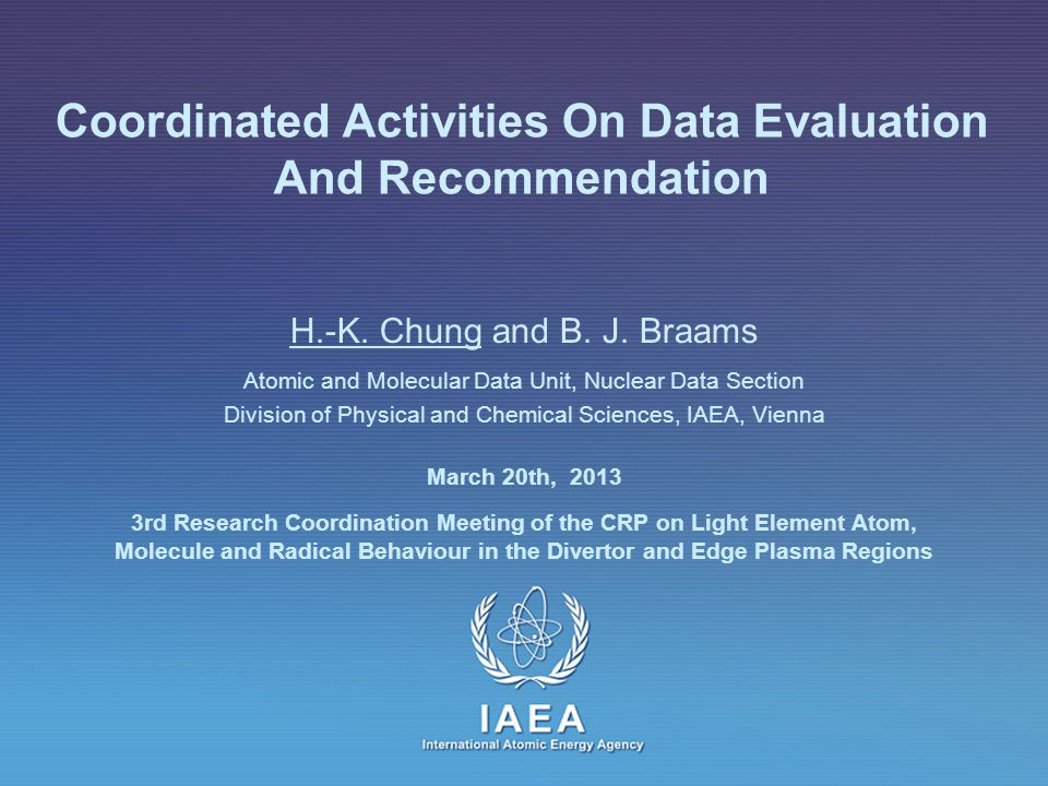 IAEA International Atomic Energy Agency Coordinated Activities On Data Evaluation And Recommendation H.-K.