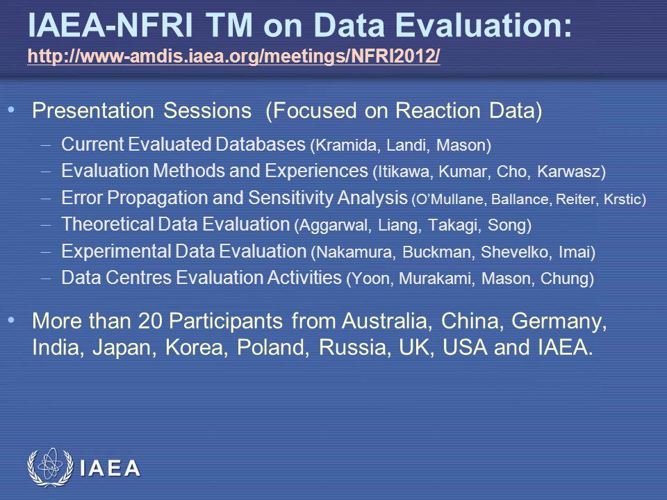 IAEA IAEA-NFRI TM on Data Evaluation: http://www-amdis.iaea.org/meetings/NFRI2012/ http://www-amdis.iaea.org/meetings/NFRI2012/ Presentation Sessions