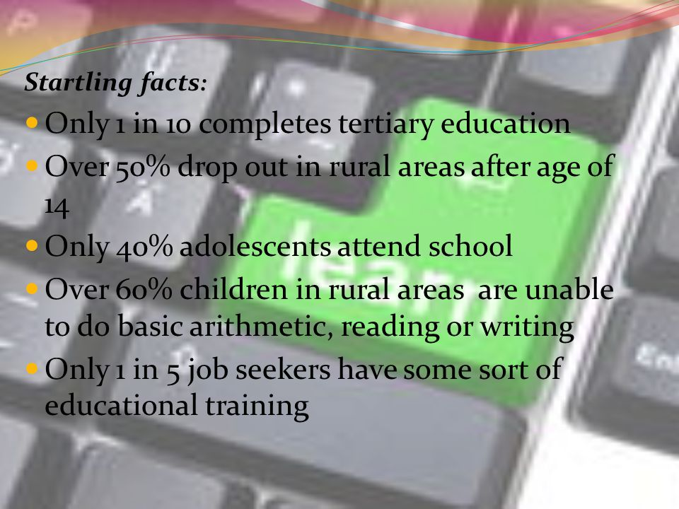 Startling facts : Only 1 in 10 completes tertiary education Over 50% drop out in rural areas after age of 14 Only 40% adolescents attend school Over 60% children in rural areas are unable to do basic arithmetic, reading or writing Only 1 in 5 job seekers have some sort of educational training