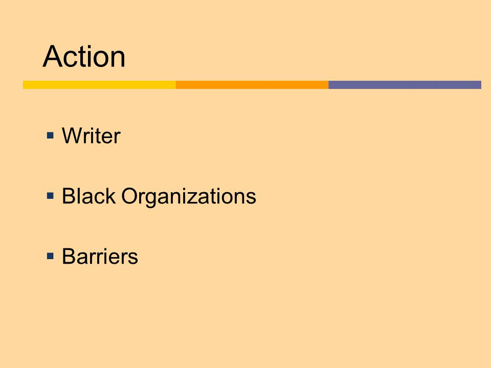 Action  Writer  Black Organizations  Barriers