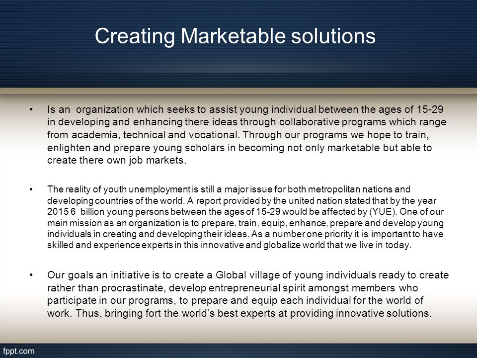 Stage (1) of the program(creating martable solution) begins with Educating indivduals: 1 In choosing the best career,based on individual educational background skills and expertise.