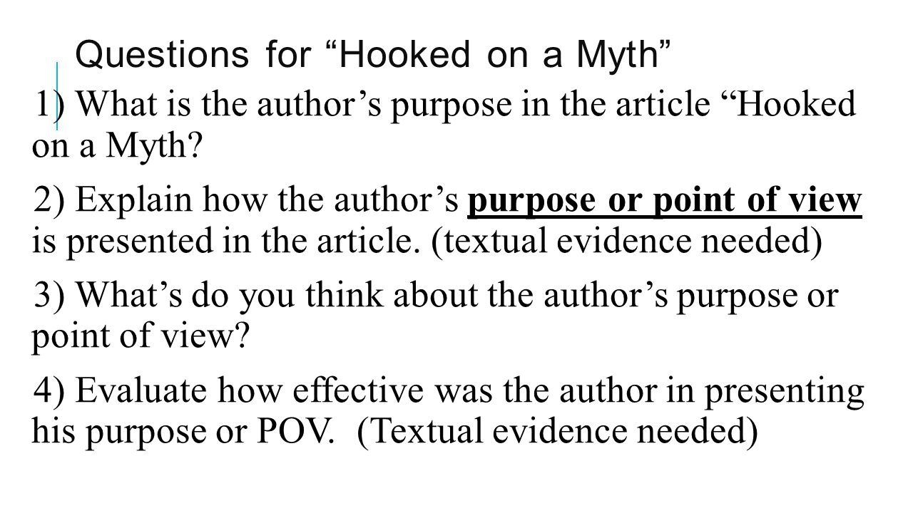 Questions for Hooked on a Myth 1) What is the author's purpose in the article Hooked on a Myth.