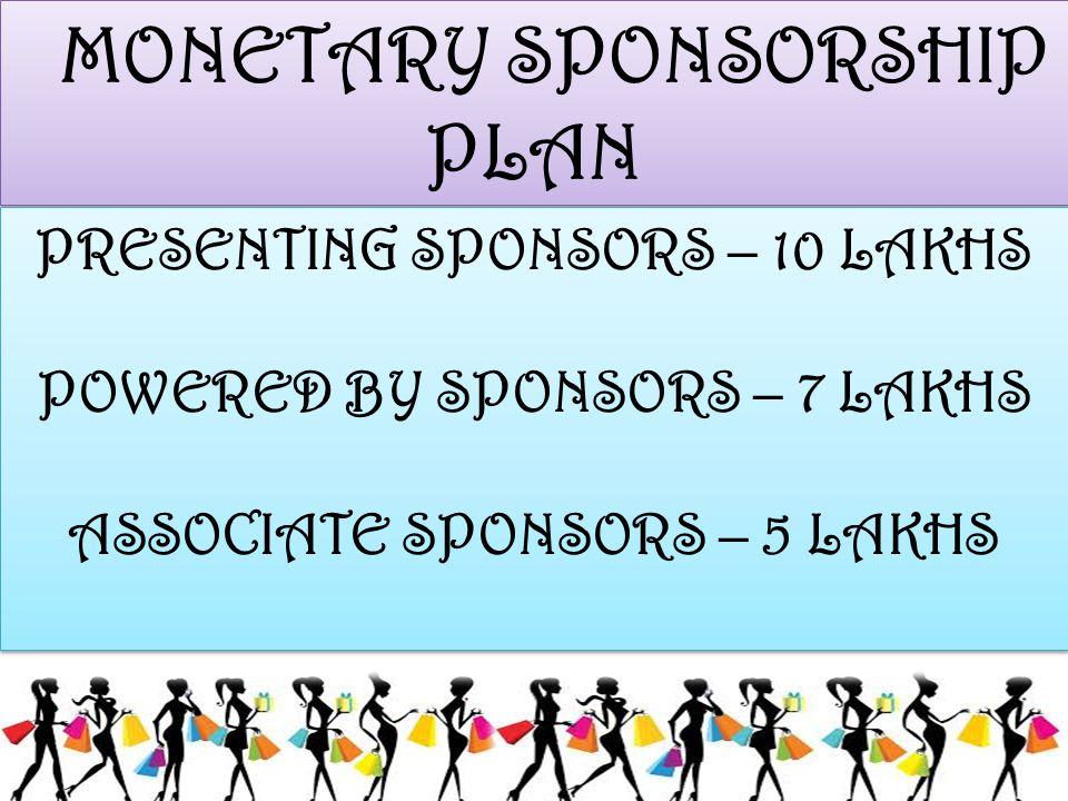MONETARY SPONSORSHIP PLAN MONETARY SPONSORSHIP PLAN PRESENTING SPONSORS – 10 LAKHS POWERED BY SPONSORS – 7 LAKHS ASSOCIATE SPONSORS – 5 LAKHS PRESENTI