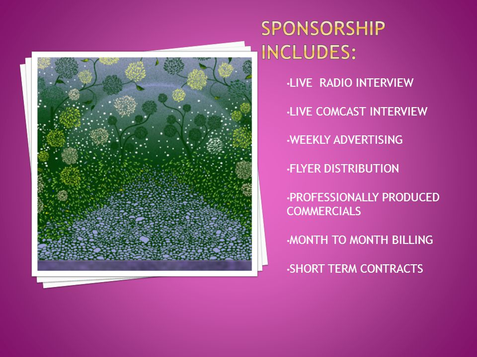 LIVE RADIO INTERVIEW LIVE COMCAST INTERVIEW WEEKLY ADVERTISING FLYER DISTRIBUTION PROFESSIONALLY PRODUCED COMMERCIALS MONTH TO MONTH BILLING SHORT TER