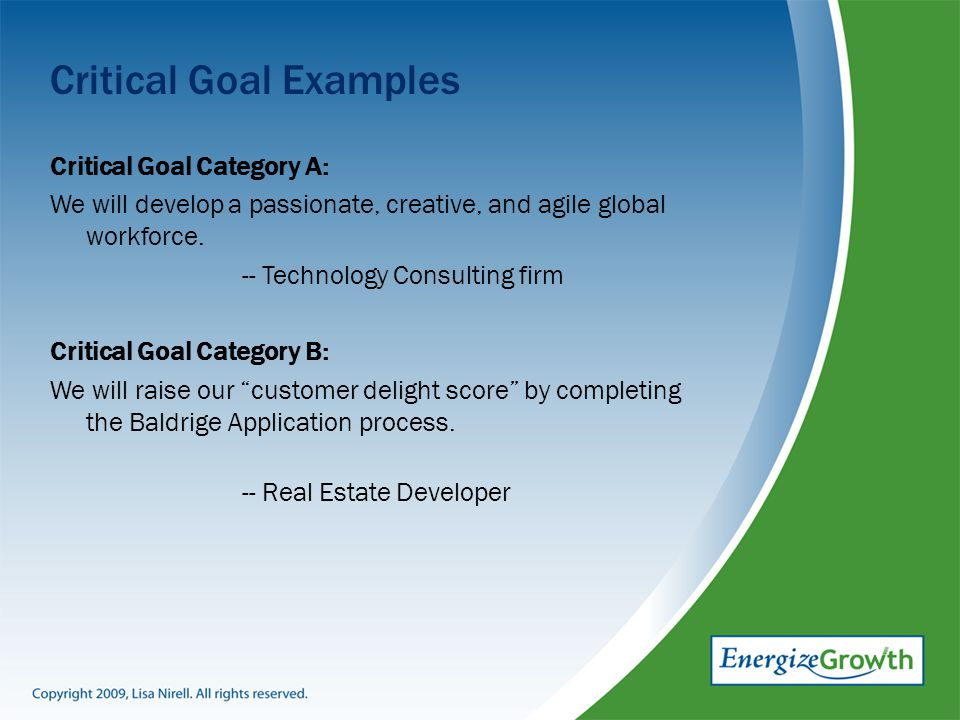 Critical Goal Examples Critical Goal Category A: We will develop a passionate, creative, and agile global workforce.