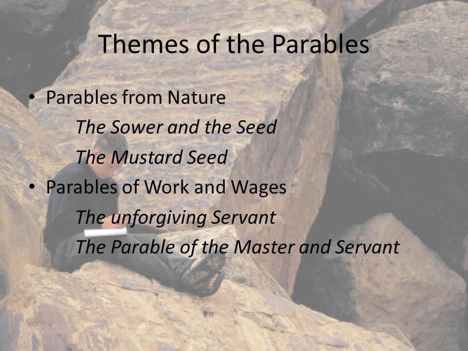 The Themes of the Parables The Parables of the open and Closed Doors – The Thief and Faithful Servant The Wedding and Feasts The rich man and Lazarus Lost and Found/Father and Son The Prodigal Son The Good Samaritan