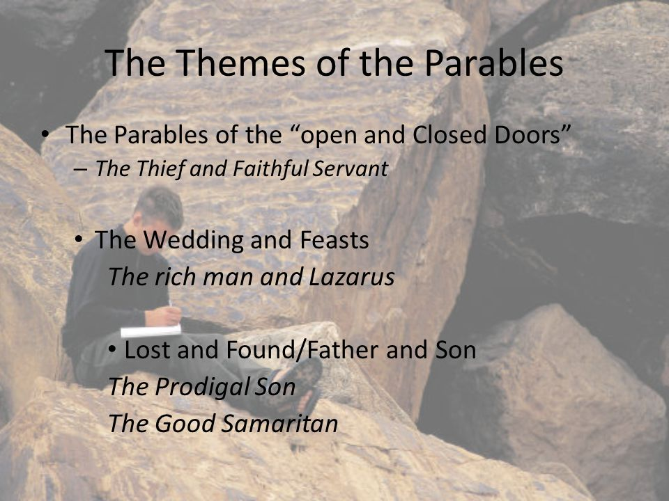 Parables in the Gospels Over a third of the Gospels by Matthew, Mark, and Luke contain parables told by Jesus.