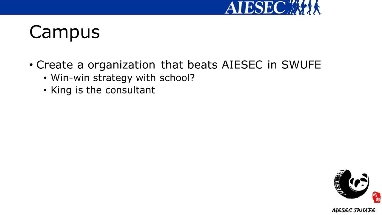 Campus Create a organization that beats AIESEC in SWUFE Win-win strategy with school.