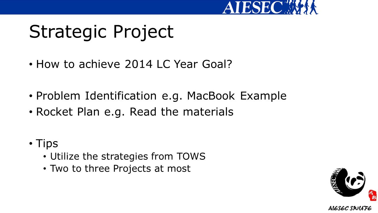 Strategic Project How to achieve 2014 LC Year Goal.