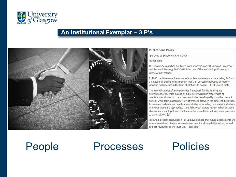 An Institutional Exemplar – 3 P's PeoplePoliciesProcesses