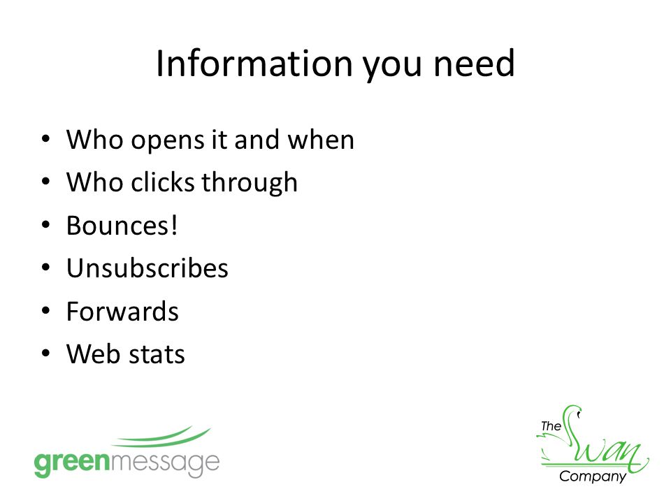 Information you need Who opens it and when Who clicks through Bounces.