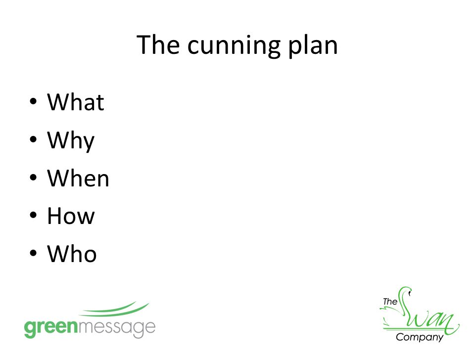 The cunning plan What Why When How Who