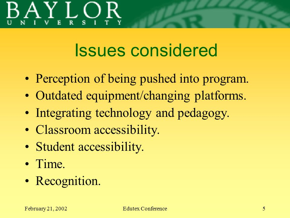 February 21, 2002Edutex Conference5 Issues considered Perception of being pushed into program. Outdated equipment/changing platforms. Integrating tech