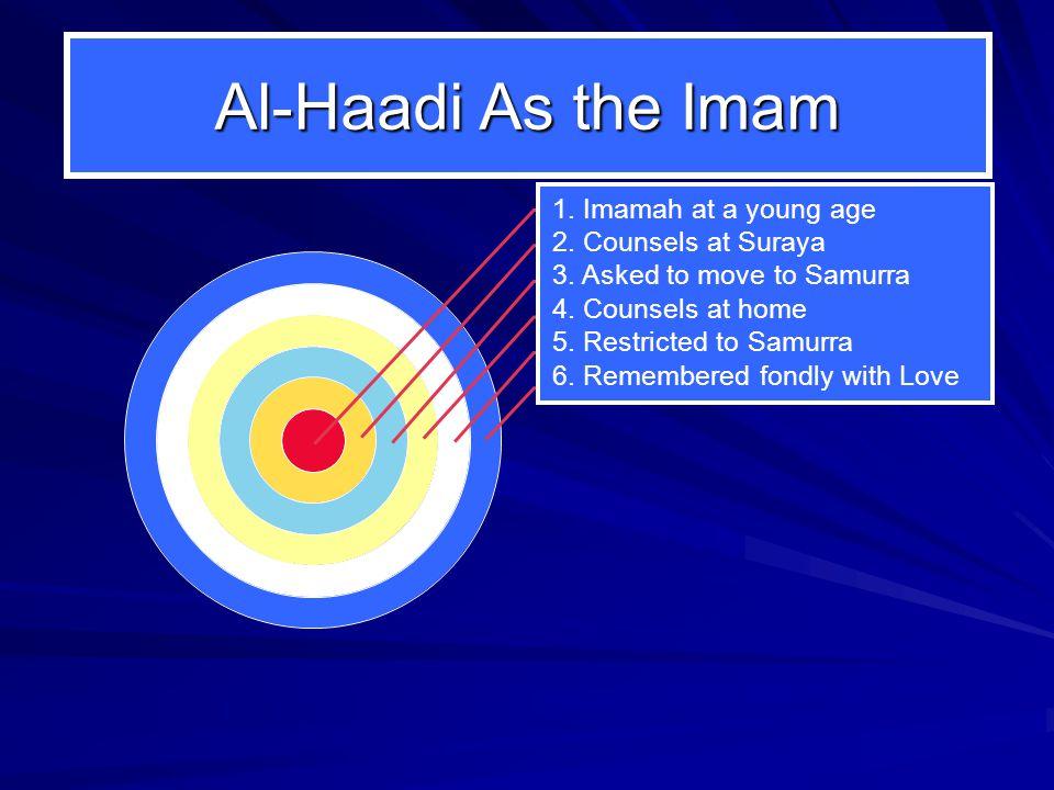 Al-Haadi As the Imam 1. Imamah at a young age 2. Counsels at Suraya 3.