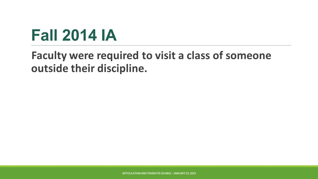 Fall 2014 IA Faculty were required to visit a class of someone outside their discipline.