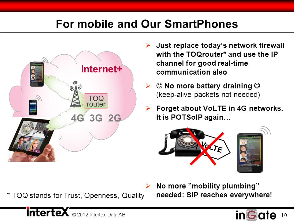 © 2012 Intertex Data AB 10 For mobile and Our SmartPhones  Just replace today's network firewall with the TOQrouter* and use the IP channel for good