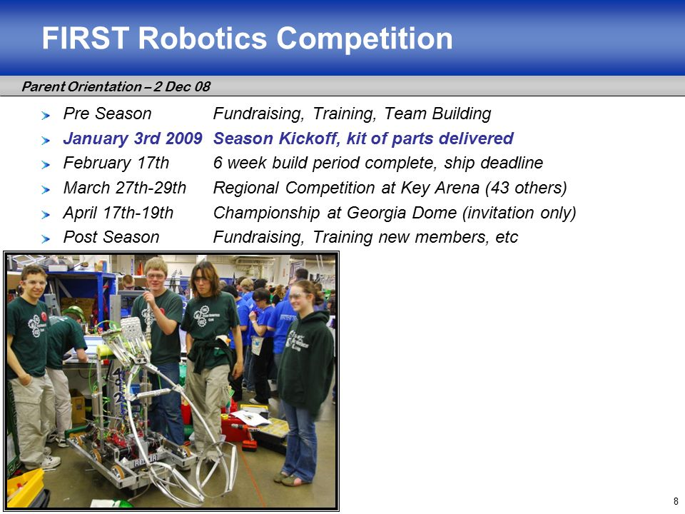 Parent Orientation – 2 Dec 08 8 FIRST Robotics Competition Pre SeasonFundraising, Training, Team Building January 3rd 2009Season Kickoff, kit of parts delivered February 17th6 week build period complete, ship deadline March 27th-29thRegional Competition at Key Arena (43 others) April 17th-19thChampionship at Georgia Dome (invitation only) Post SeasonFundraising, Training new members, etc